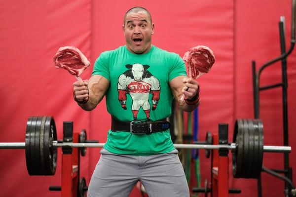 Mark Bell steak carnivore zero carb jacket lifting